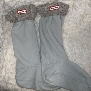 Hunter Accessories - Hunter Tall Boot Socks, Grey knitted cuff